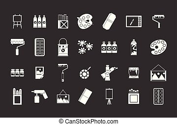Paint tools icon set grey vector