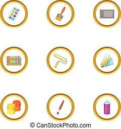 Paint tools icons set, cartoon style