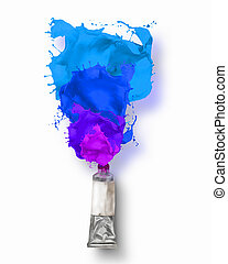 Paint tube - Image of paint tube with color splashes
