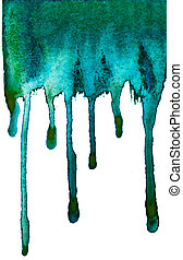 paint watercolor blue green dripping isolated on white background