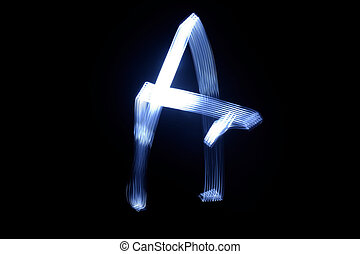 paint with light on black background letter A