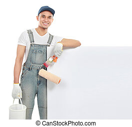 paint worker with blank banner
