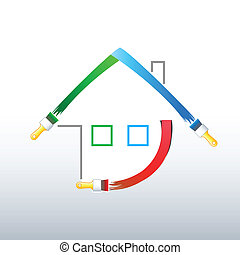 Paint your new home! - Home decoration symbol made of RGB...
