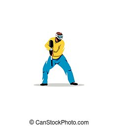 paintball, μικροβιοφορέας , player., illustration.