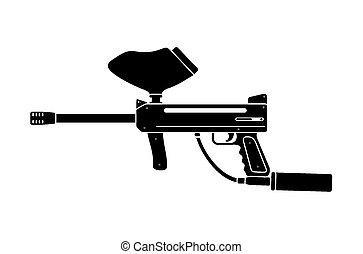 paintball, シルエット, 銃