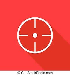 Paintball aim icon, flat style