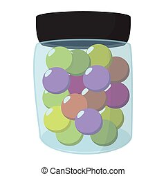 Paintball balls in a jar cartoon icon. Color balls in a...