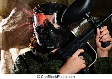 Paintball direct hit in the mask