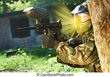 paintball direct shot - paintball sport player wearing...