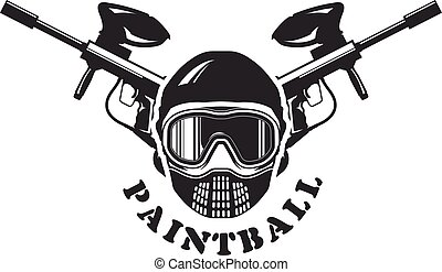 Paintball emblem - mask and markers - Paintball emblem -...