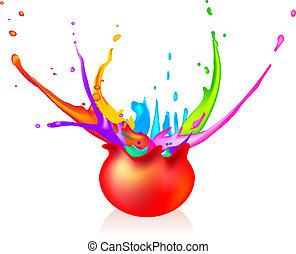 Paintball - Exploding ball splashing around with paint....