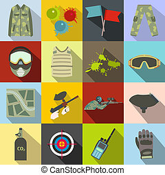 Paintball game flat icons set for web and mobile devices