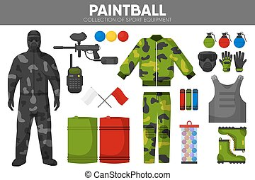 Paintball game sport equipment team players garment accessory vector icons set