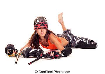 Paintball girl - Sexy young girl posing like playing...