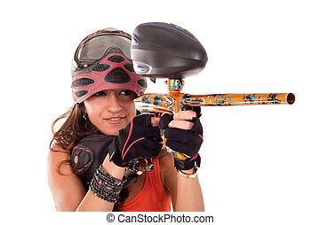 Paintball girl - Sexy young girl posing like playing ...