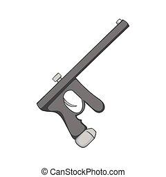 Paintball gun icon, black monochrome style