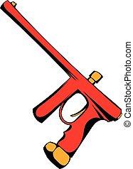 Paintball gun icon cartoon