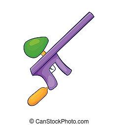 Paintball gun icon in cartoon style