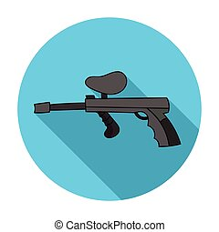 Paintball gun icon in flat style isolated on white background. Paintball symbol stock vector illustration.