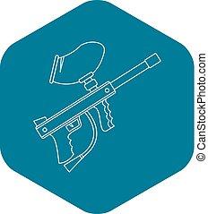 Paintball gun icon, outline style