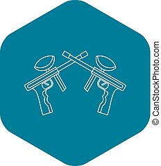 Paintball guns icon, outline style