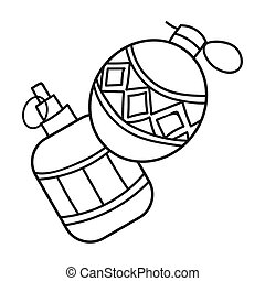 Paintball hand grenade icon in outline style isolated on...