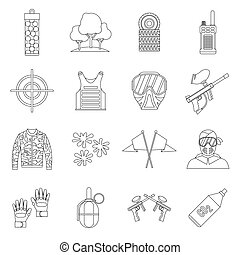 Paintball icons set, outline style