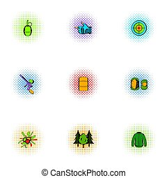 Paintball icons set, pop-art style - Paintball icons set. ...