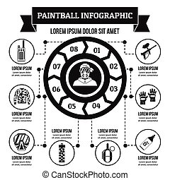 Paintball infographic concept, simple style