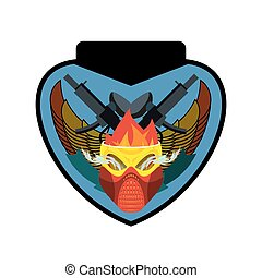 Paintball logo. Military emblem. Army sign. Skull in protective mask and weapons. Awesome badge for sports teams and clubs