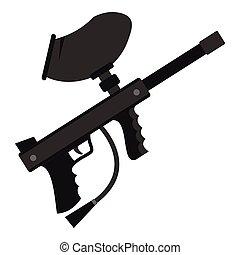 Paintball marker gun icon, flat style