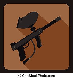 Paintball marker icon, flat style
