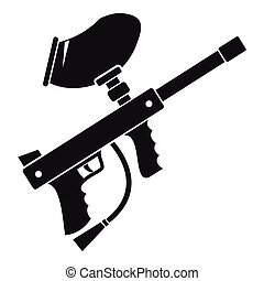 Paintball marker icon, simple style