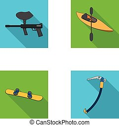 Paintball marker, kayak with a paddle, snowboard and climbing ice ax.Extreme sport set collection icons in flat style vector symbol stock illustration web.