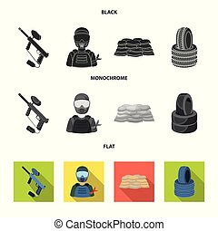 Paintball marker, player and other accessories. Paintball single icon in black, flat, monochrome style vector symbol stock illustration web.