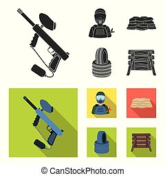 Paintball marker, player and other accessories. Paintball single icon in black, flat style vector symbol stock illustration web.