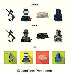 Paintball marker, player and other accessories. Paintball single icon in cartoon,black,flat style vector symbol stock illustration web.