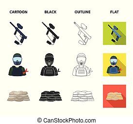 Paintball marker, player and other accessories. Paintball single icon in cartoon,black,outline,flat style vector symbol stock illustration web.