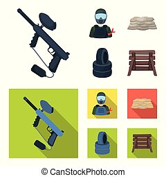 Paintball marker, player and other accessories. Paintball single icon in cartoon,flat style vector symbol stock illustration web.