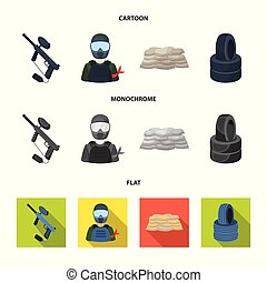 Paintball marker, player and other accessories. Paintball single icon in cartoon,flat,monochrome style vector symbol stock illustration web.