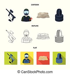 Paintball marker, player and other accessories. Paintball single icon in cartoon,outline,flat style vector symbol stock illustration web.