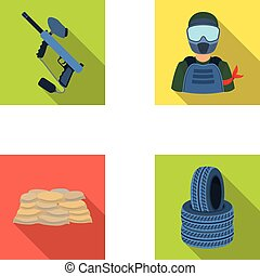 Paintball marker, player and other accessories. Paintball single icon in flat style vector symbol stock illustration web.