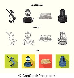 Paintball marker, player and other accessories. Paintball single icon in flat,outline,monochrome style vector symbol stock illustration web.