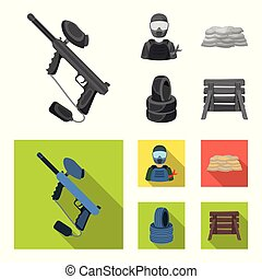 Paintball marker, player and other accessories. Paintball single icon in monochrome,flat style vector symbol stock illustration web.