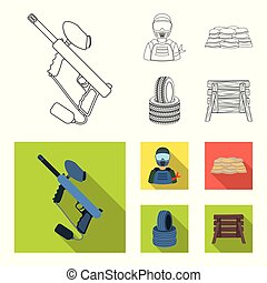 Paintball marker, player and other accessories. Paintball single icon in outline,flat style vector symbol stock illustration web.