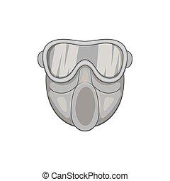 Paintball mask icon, black monochrome style