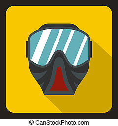 Paintball mask icon, flat style