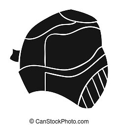Paintball mask icon in black style isolated on white...