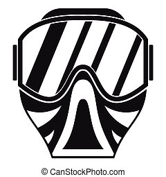 Paintball mask icon, simple style