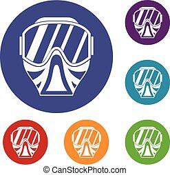 Paintball mask icons set